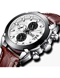[チーヴォ]CIVO 腕時計 メンズ時計レザー クロノグラフ防水ウオッチブラウン 日付カレンダー アナログクオーツ腕時計 ビッグフェイス おしゃれ ビジネス カジュアル 男性用腕時計