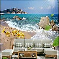 Xbwy 美しいビーチ海波写真壁画壁紙3Dステレオ海辺の風景壁画リビングルームダイニングルーム-350X250Cm