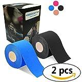 2巻入 テーピングテープ キネシオ テープ 筋肉・関節をサポート 伸縮性強い 汗に強い パフォーマンスを高める 5cm x 5m (黒/�い)