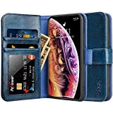 Labato iPhone XS ケース 手帳型 iPhone X ケース 手帳型 本革レザー TPU カード収納 アイフォンXSケース 財布型 オートスリープ機能 スタンド 手作り 耐衝撃 おしゃれ (iPhone XS/iPhone X, 青色)