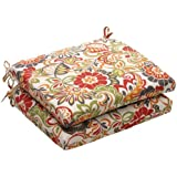 Pillow Perfect Indoor/Outdoor Multicolored Modern Floral Square Seat Cushion, 2-Pack