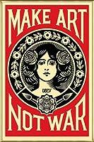 ポスター オベイ Male Art Not War/Shepard Fairey 手書きサイン入り 額装品 アルミ製ベーシックフレーム(ゴールド)