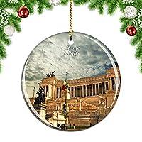 Weekinoヴィットリオエマヌエーレ記念碑ローマイタリアクリスマスデコレーションオーナメントクリスマスツリーペンダントデコレーションシティトラベルお土産コレクション磁器2.85インチ