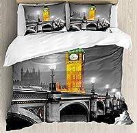 ロンドンインテリア布団カバーセットby Ambesonne、古代Big Ben View From The Street Palace of Westminster Touristic Great Britainアート写真、装飾寝具セットwithピロー、マルチ キング nev_14652_king