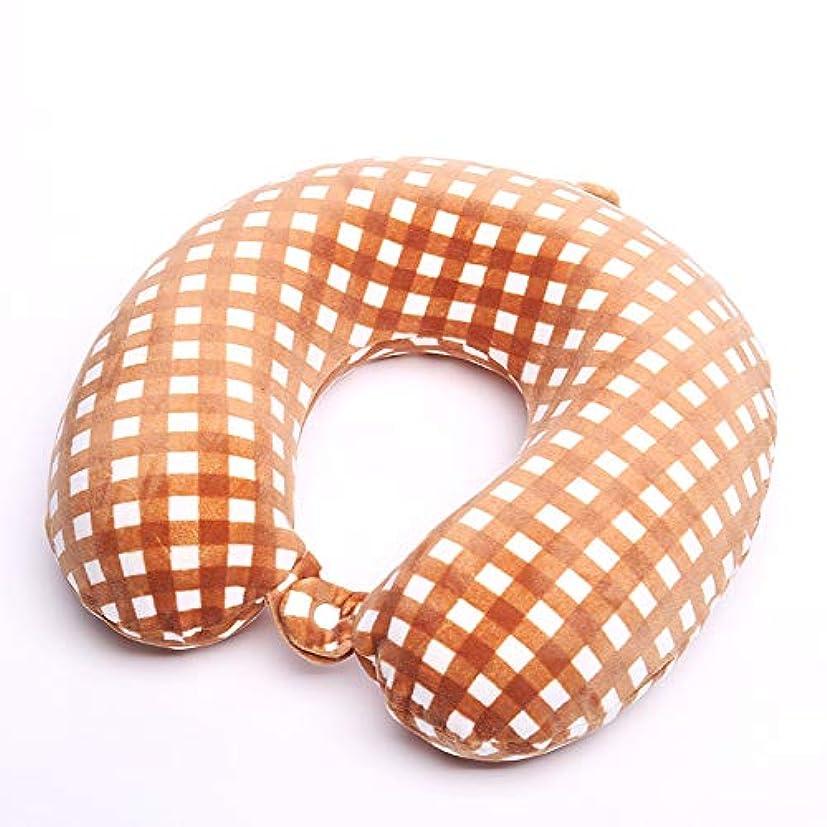 マーベル豪華な行為HPYOD HOME メモリ綿の弾性スーパーソフトチェック模様の生地ラウンドヘッドの枕4面弾性U字型枕ポータブル旅行uの枕 (Color : Orange)
