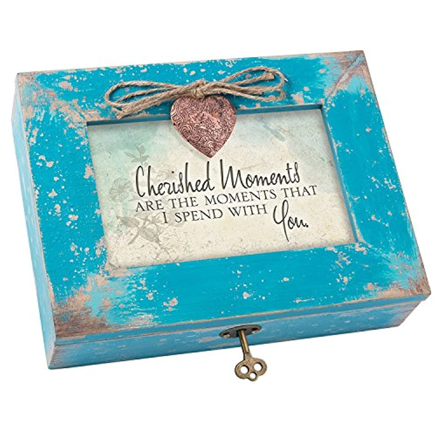 Cherished Moments are With You Teal Wood Locket Jewellery Music Box Plays Tune Wind Beneath My Wings