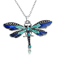Aysekone Fashion Vintage Bohemian Pendant Statement Necklace Ethnic Jewelry Chain Crystal Enamel Dragonfly Necklace(Blue)
