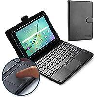 Dell Venue 8, Venue 8 Pro キーボード ケース COOPER TOUCHPAD EXECUTIVE 2-in-1 ワイヤレス Bluetooth キーボード マウス レザー トラベル Windows Android 持ち運び ケース カバー ホルダー フォリオ ポートフォリオ + スタンド(ブラック)