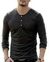 [ミックスリミテッド] ロンT メンズ 長袖 ヘンリーネック 長袖Tシャツ ロングTシャツ 無地 タイト Vネック T1033-BLK-S