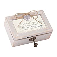 High as the Heaven are Above Distressed Wood Locket Jewellery Music Box Plays Tune How Great Thou Art