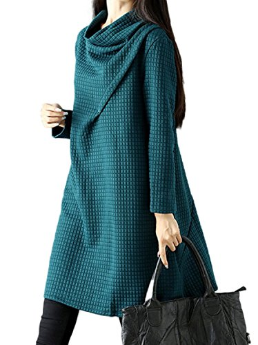 [해외]YUNIAN 여성 원피스 느긋 풀오버 튜닉 원피스 긴팔 무릎 코쿤 드레이프 와플 소재 着?せ 캐주얼 A 라인 체형 춘추/YUNIAN Women`s One Piece Loose Pullover Tunic One Pie Long Sleeve Knee Length Cocoon Drape Waffle Material Wearing Wearing C...