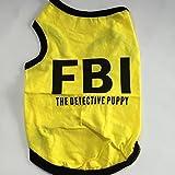 【犬服】 【ドッグウェア】 【S〜L】 夏 涼しい Tシャツ FBI 2カラー (M, イエロー)
