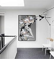 おしゃれな絵画インテリアセクシーなファッションモデル女性の肖像キャンバス絵画ポスタープリントウォールアート写真水彩花用リビングルーム寝室入り口壁装飾(木製黒フレーム)40x60cm