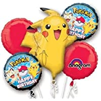 Pokemon Pikachu Supershape Happy誕生日5pc Mylar BouquetバルーンパーティーFavor
