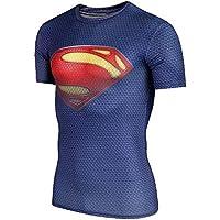 UDW-231 ラッシュガード スーパーマン 格闘技 インナー 筋トレ 半袖 Tシャツ アンダーウエア 青赤 各size