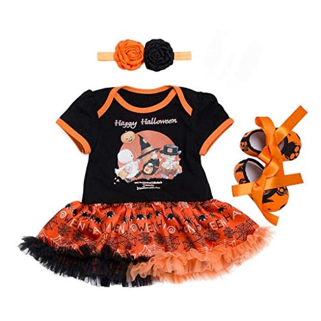 類推パラダイス純粋なTovadoo 3PCS ハロウィン 衣装 赤ちゃん 女の子 衣装セット, 幼児キッズ ハロウィーンの習慣 カボチャ チュール ロンパー ドレス 靴 ヘアバンド 衣装セット