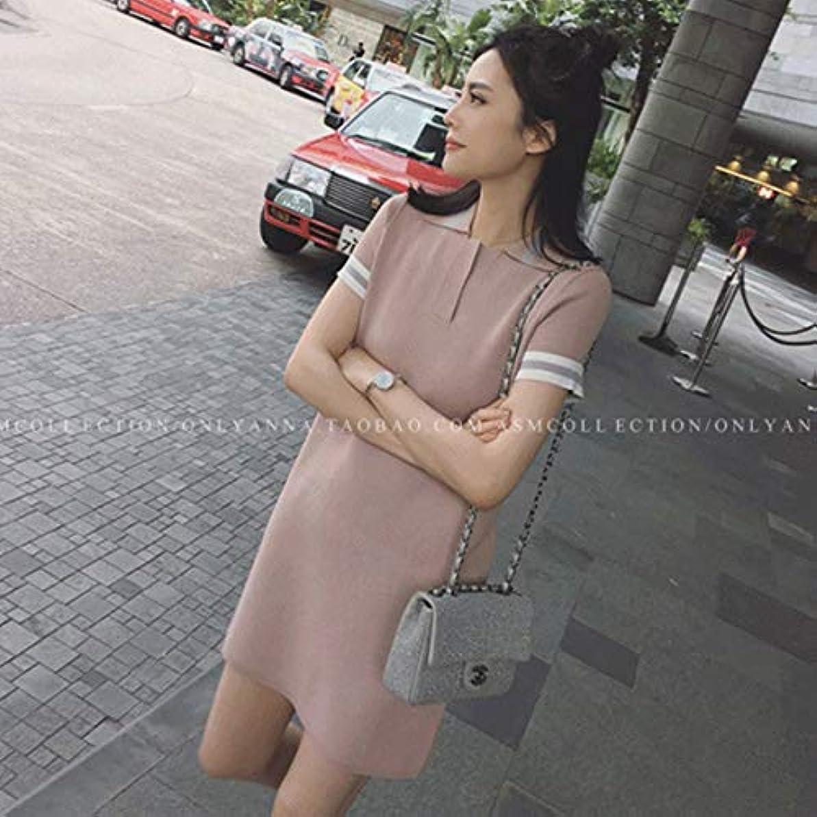 扇動する反論者器用Blackfell 女性ドレスポロ襟アイスシルクニットドレス女性夏半袖ワンサイズ
