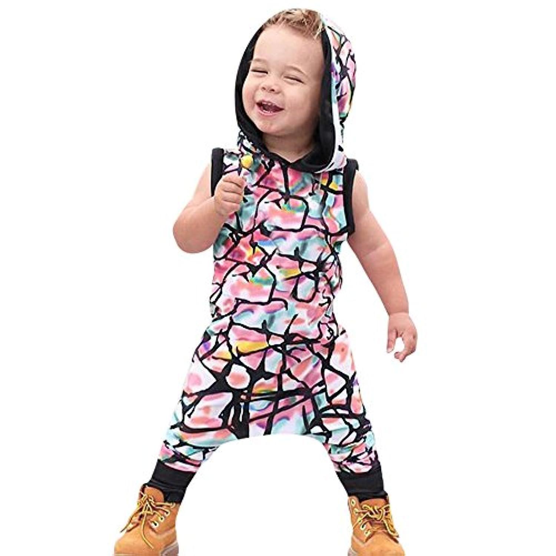 (プタス)Putars幼児の赤ん坊の男の子女の子のコットンのフード付きのロマーツジャンプスーツ夏の服装セット6ヶ月 - 24ヶ月