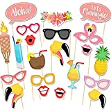 Trasfit 20Pcs Luau Photo Booth Props Kit for Hawaii Themed Summer Party Supplies, Tropical/Tiki/Summer Pool Party Decorations Supplies
