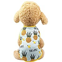 (Enerhu)犬の服 ドッグウェア ペット服 小型犬 チワワ 犬ベスト 犬猫洋服 春 夏 プリンセス服 脱毛保護 生理期保護 日焼き防ぐ かっこいい 散歩 お出かけ おしゃれ かわいい 果物 パイナップル #6 S
