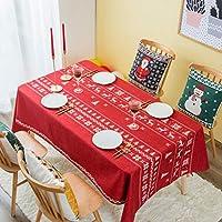 [テンカ]テーブルクロス クリスマス用 140×100cm 北欧 長方形 円形 綿麻 テーブルカバー 食卓カバー お正月 新年 厚手 汚れ防止 雰囲気 部屋飾り 店飾り パーティー 贈り物 多用途