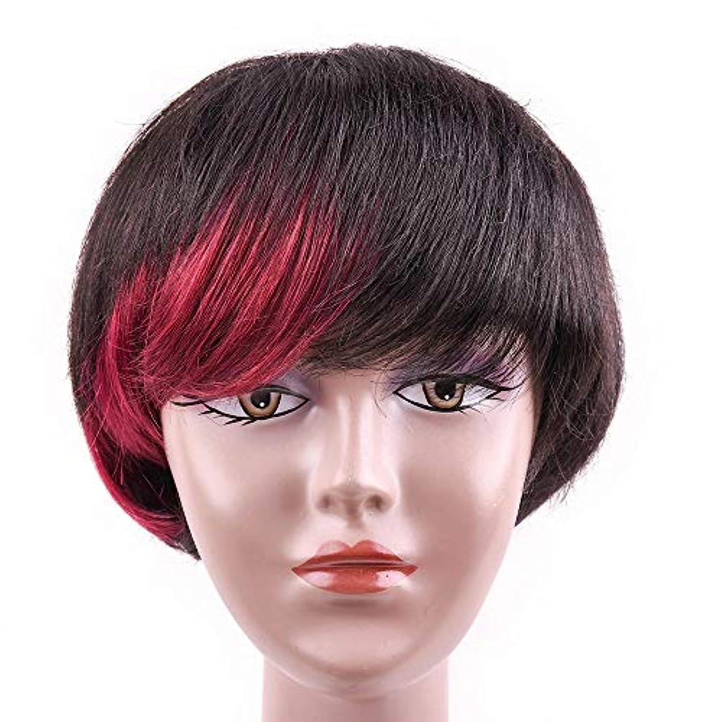 暗殺者ガロン黙YOUQIU 女性6インチブラックレッドカラーのウィッグを強調するために、100%人毛ショートボブウィッグ (色 : 黒, サイズ : 6 inch)