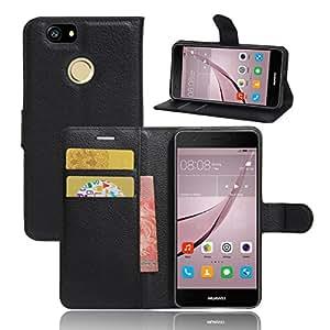 Huawei nova専用ケース PopSky全6色Huawei nova ライチ紋手帳型カバー 最高品質のPUレザー 超軽量カードスロット付きの専用保護ケース (Huawei nova , ブラック)