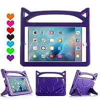 iPad 2019 ケース RIAOUR ipad mini 2 3 4 5 ケース 超軽量 耐衝撃 スタンド ハンドル付き EVA キッズ 保護 新型ミニipad カバー (紫)