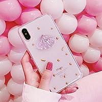 ZhiLaner スマートフォンケース 携帯カバー iPhoneX/7/8/7plus/8plus ケース 可愛い おしゃれ 薄型 ピンク 貝iPhone6/6s/6plus/6splus カバー きれい 保護カバー クリア ソフト キラキラ (iPhone6plus/6splus, ピンク)