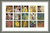 Alonline Art - Water Snakes Mother Embrace Collage 15 Gustav Klimt シルバーフレームポスター(フォームボードに100%コットンキャンバスに印刷) - すぐに掛けられます、94 x 61 cm フレーム入りアートワーク フレーム付き装飾