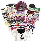MXTBY 76PCS DIY ウェディングパーティーの写真の楽しみのためのスティック上の写真の小道具口ひげマスク