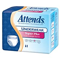 Attends Underwear Super Plus with Leakage Barriers Medium 34-44in, 120-175lb, 80 ea by Attends