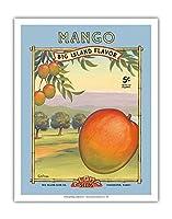 """マンゴー -""""アロハ""""種子 - ビッグアイランドシードカンパニー - ビッグアイランドフレーバー - ヴィンテージシードパケット によって作成された カーン・エリクソン - アートポスター - 28cm x 36cm"""