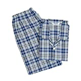 [グンゼ] メンズパジャマ 綿100% 吸汗速乾加工 長袖長パンツ 先染サッカー