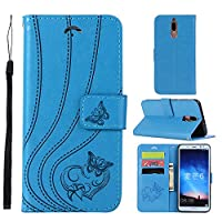 Huawei Mate 10 Lite Case,[Drop Protection] Abtory Folio Flip Case Wallet Case [ID Credit Card and Cash Slots] with Kickstand Stand Flip Cover for Huawei Mate 10 Lite Blue