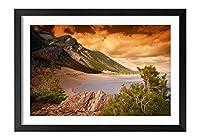 木製の枠 ズックの印刷する絵画 家の壁の装飾画 ポスター (30x40cm) 海岸、山、珊瑚礁、樹木