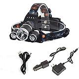 「KBook」LEDヘッドライト 超強力超明るい 1x T6(5000LM) + 2x R5(3000LM) 充電式 4モード 防水防災ヘッドランプ 実用ライト 90°調節可 アウトドア活動に一番のコンパニオン(ACアダプター、車載充電器、USBポート付き)