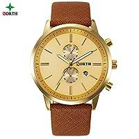HWCOO 美しい腕時計 NORTHビッグダイヤル偽3針メンズ腕時計カレンダーベルトメンズウォータープルーフクォーツ時計 (Color : 1)