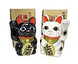 招き猫 4号 白黒ペア猫 常滑焼