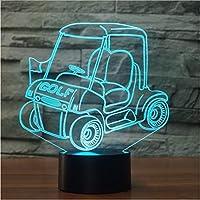 ナイトライトゴルフカーled 3dナイトライトカート7色変更usbタッチスイッチランプ寝室の装飾3dテーブルランプ子供クリエイティブギフト付きアクリルプレートとabsベースとusb充電器