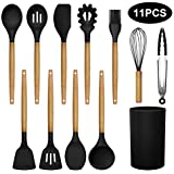 MegiKio Silicone Kitchen Utensils Cooking Set-11PCS Kitchen Utensils Set with Wooden Handles-Include Turner Tongs Spatula Spoon for BPA Free Non Toxic(Black)