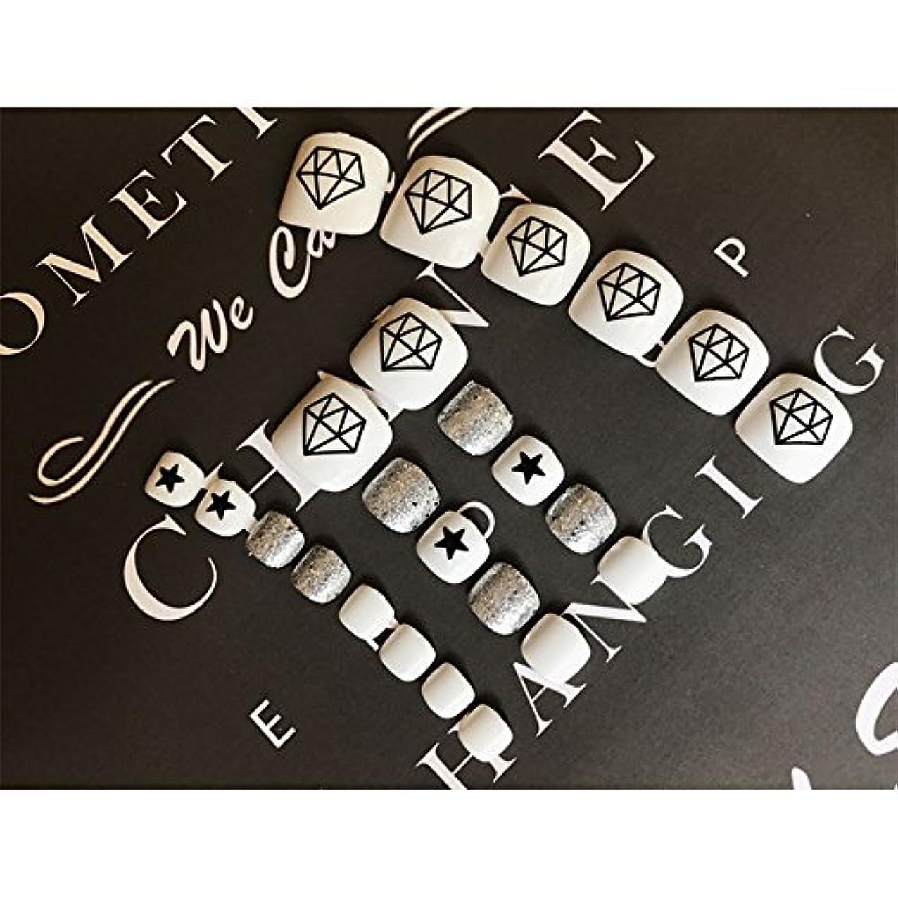 迷路チューリップ性的Liebeye 足用 ネイルチップ シンプル ファッション ステッカー キラキラ 幾何学 模様 24枚 ホワイト?ダイヤモンド