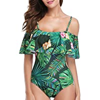 Holipick Women 1 Piece Vintage Floral Printed Off Shoulder Flounce Ruffled Padded Monokini Bathing Suits