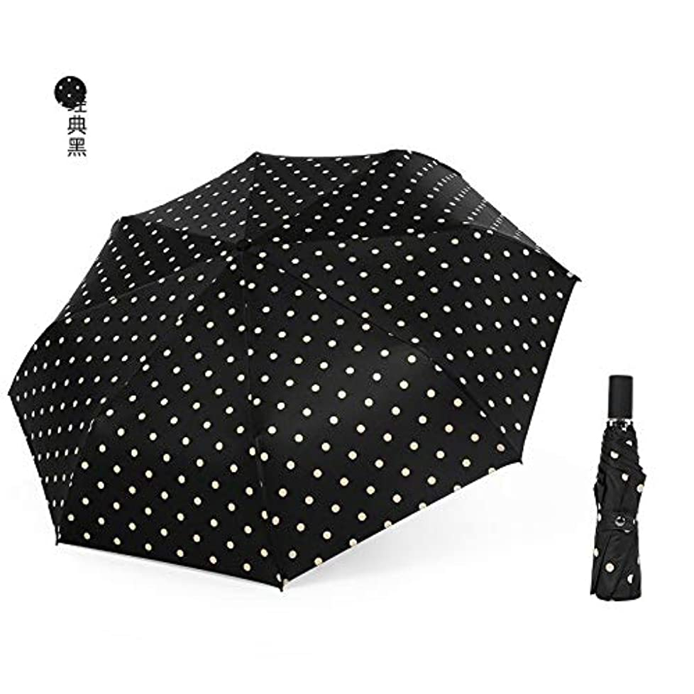 犯す発動機放棄するHAPPY HOME 三つ折り傘黒プラスチック太陽の傘小さな新鮮な波傘抗UV傘女性デュアルユース折りたたみ傘