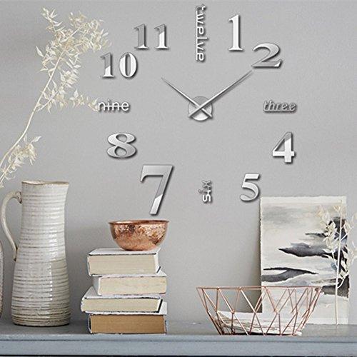 掛け時計 手作り DIY 壁時計 インテリア 室内 ウォールクロック ウォールステッカー ローマ数字と英語 時計を壁面に自由に設置できる シンプル 部屋装飾  簡単なおしゃれ時計 クロック (シルバー)
