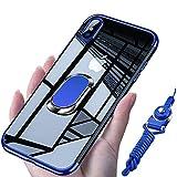 iPhone XS ケース/iPhone X ケース リング 透明 クリア リング付き tpu シリコン メッキ加工 スリム 薄型 5.8インチ スマホケース 耐衝撃 米軍MIL規格取得 ストラップホール 黄変防止 一体型 人気 携帯カバー07-15