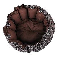 PETSOLA 猫犬兼用 睡眠マット ベッド 快適 巣 柔らかいマット カボチャの形状 伸縮性 クッション - ブラウン, M