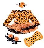 (ヒパ ヒパ)hipa hipa ハロウィン 衣装 子供 女の子 コスチューム 4点セット ヘアアクセ レッグウォーマー シューズ の 長袖 ロンパース パンプキン スカル コウモリ 柄 イベント パーティに オレンジ ブラック