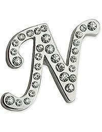Pinmart 'sシルバーメッキラインストーンアルファベット文字Nラペルピン 1