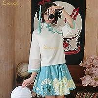 MAHAXX大人甘いロリータショートドレスガール女性韓服プリント花ボタンホールループ漢服ハロウィンコスプレ衣装
